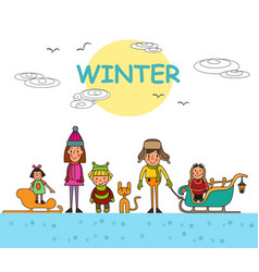 kids playing outdoors in winter isolated vector image