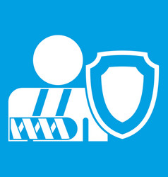 oken arm and safety shield icon white vector image