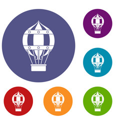 old fashioned helium balloon icons set vector image