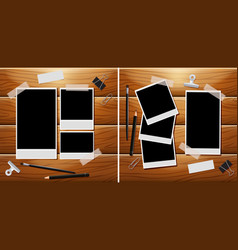 photo frames on wooden board with other vector image