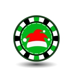 poker chip Christmas new yearCap Santa Claus red vector image