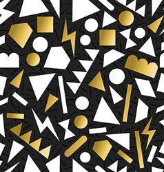 Gold 80s 90s retro seamless pattern background vector image
