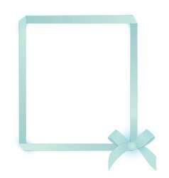 Ribbon blue bow frame vector image