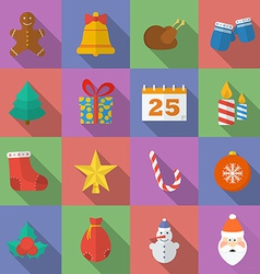 Set of Christmas icons Flat style vector image vector image