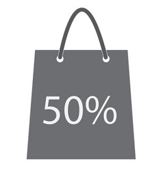 Shopping bag with the sale 50 percent discount vector