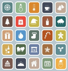 Winter flat icons on blue background vector image