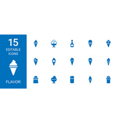 15 flavor icons vector image