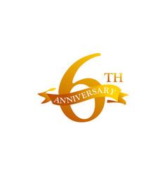 6 ribbon anniversary logo design template vector