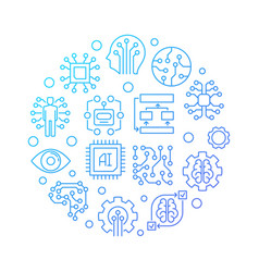 ai technology round blue line on vector image