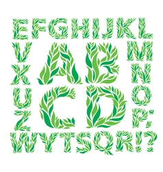 Alphabet green leaves vector