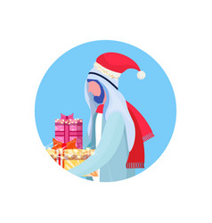 arab man traditional clothes hold gift box happy vector image