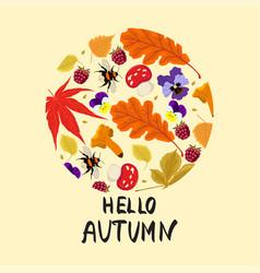 autumn print leaves mushrooms berries vector image
