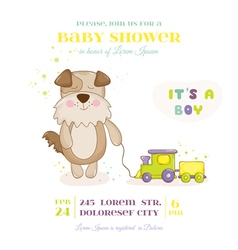 Baby shower or arrival card - dog with train vector