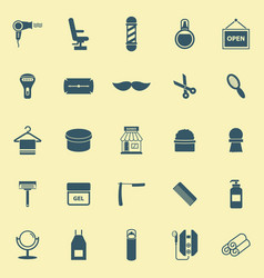 Barber color icons on yellow background vector