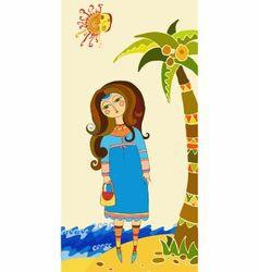 beautiful girl on a beach vector image vector image