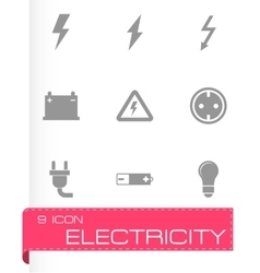 Black electricity icon set vector