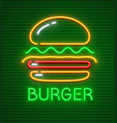 Burger neon icon hamburger vector