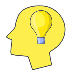Burning light bulb in human head icon vector