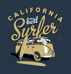 california best surfer poster vector image