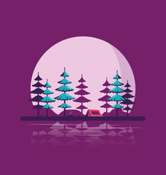 Camping tent in forest flat style design vector