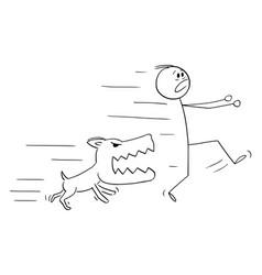 cartoon angry dog chasing running man vector image