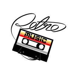 Cassette tape retro music on a white background vector