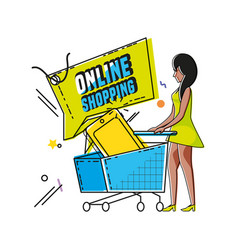 Character woman with shopping online icons vector