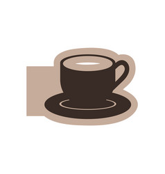 Color emblem with silhouette cup coffee with dish vector