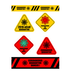Coronavirus quarantine tape and sticker set virus vector