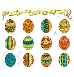 Doodle Happy Easter set with eggs vector image