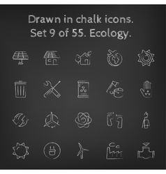 Ecology icon set drawn in chalk vector