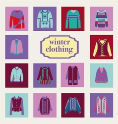 Fashion woman and man winter clothes vector