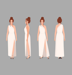 Fashionable woman in stylish evening maxi dress vector