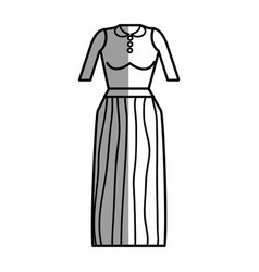 Figure casual blouse and long skirt cloth vector