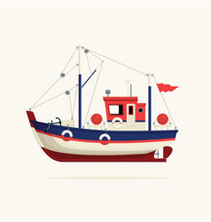 Fishing boat side view on a white background vector