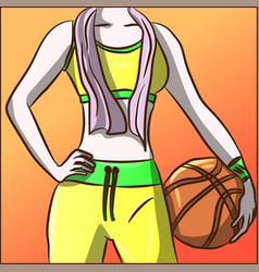 Fit woman in neon tracksuit with a basketball vector