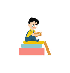 flat boy reading sitting at big book vector image