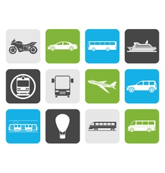 Flat Travel and transportation of people icons vector image