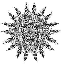 floral round line art mandala vector image