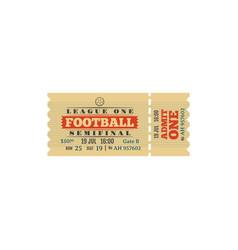 Football semifinal game retro ticket card vector