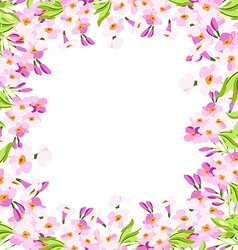 Frame with pink flowers vector