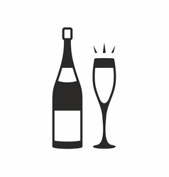 Glass champagne and bottle vector