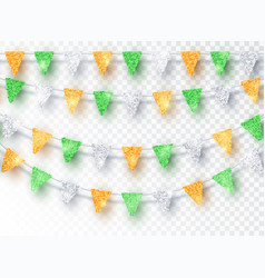 glitter india party flags decoration set isolated vector image
