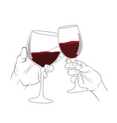 Hand clinking glass if wine vector