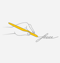 hand holding a yellow pen hand drawn signature vector image