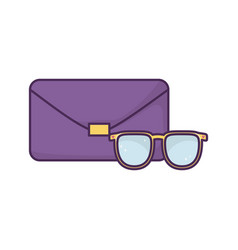 Handbag and sunglasses icon on white background vector