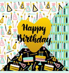 happy birthday lettering concept vector image