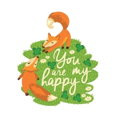 Happy card with cute foxes in vector image