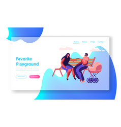 Happy women spend time together sitting on bench vector