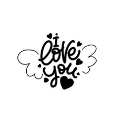 i love you cute lettering design with hearts and vector image